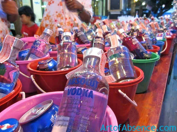 Alcohol Buckets At The Full Moon Party in Koh Phangan