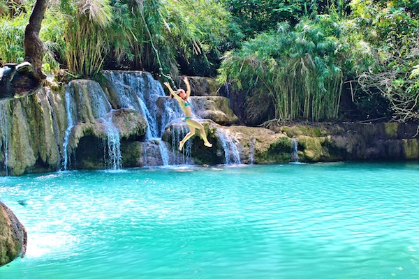 Rope Swing At Kwang Si Waterfalls Laos