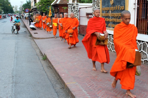 Monks Collect Alms Early in Luang Prabang Laos